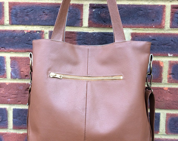 Recycled leather bag - Hobo style bag made with Caramel Brown leather-detachable strap-shoulder or hand held.Get 30% off see details