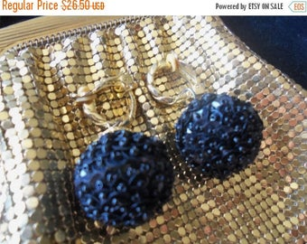 On Sale Vintage Black Beaded Earrings Sequins 1960's Mad Men Mod Hollywood Regency Jewelry Black Tie Formal