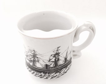 Vintage Moustache Cup - Mustache Cup Vintage - Coffee Mug - Funny Coffee Mug- Teacup for Men - Sail Boat Nautical Decor - Mens Shaving Set