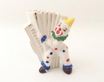 Clown Planter - Vintage Clown Planter - Retro Flower Pot - Indoor Gardening - Musical Clown with Accordion