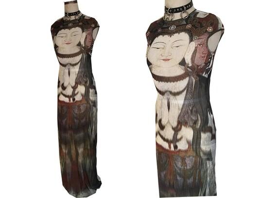VIVIENNE TAM 90's Buddha Mesh See Through Sheer Maxi Stretch Dress