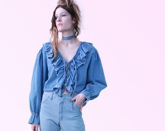 90s VTG Denim Ruffle Top Blouse Blue Jean Dream Romance Is Yours Vintage Peasant Blouse  Boho Femme Muah