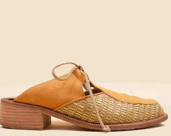 90s Vtg Woven Raffia & Saffron Genuine Suede Leather Mule Stacked Wood Heel Platform Clog / Corset Tie Boho Hippie Chic Minimal 6 Eu 36