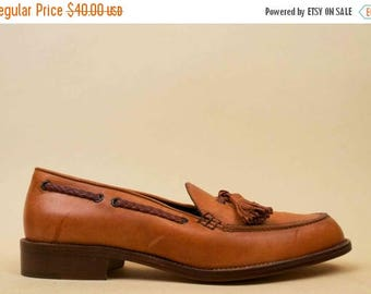 25% OFF 80s 90s Vtg COLE HAAN Italy Honey Brown Genuine Leather Tassle Slip On Loafer / Low Chunky Platform Heel Flats Minimalist Boat Shoe