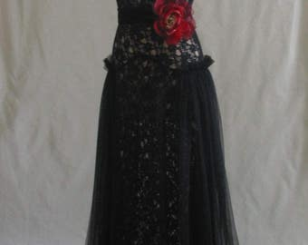 """1930s Style Black Lace and Tulle Gown Dress Evening Prom Wedding 1930""""s Vintage Style Bias Cut"""