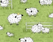 15% off thru 3/31 SHEEPS & PEEPS-by the half yard by QT fabrics-white lambs on green field with yellow chicks-25750-h Quilting Treasures