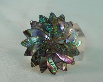 Taxco Sterling and Abalone Shell Pinwheel Brooch or Pendant, Eagle 1 Marking