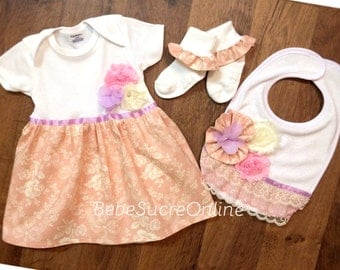 Peach, Pink, and Lavender Shabby Chic Baby Girl Dress, Bib, and Ruffle Socks