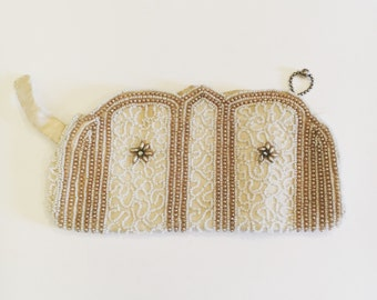 Vintage Micro Beaded Evening Bag Made in Belgium in Cream, Gold and White with FREE SHIPPING!
