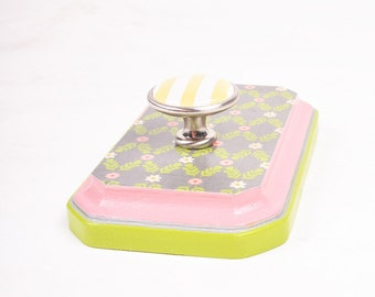 Pink and Green Vine Wall Plaque with Striped Knob