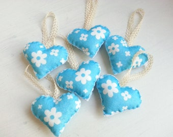 Color of Love  - Heart Ornaments  (Blue Flower) - Set of 6