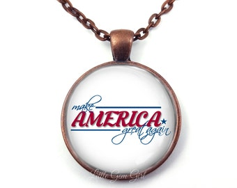 Make America Great Again Necklace or Key Chain - 5 Metal Finishes - Pro Trump Jewelry - MAGA Pendant - President Trump Gift