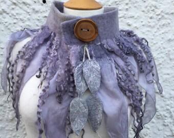 Elven grey Forest cowl- scarf-Woodland Felted Cowl - silk scarf - autumn scarf scarf - scarf- woodland scarf- bohoscarf