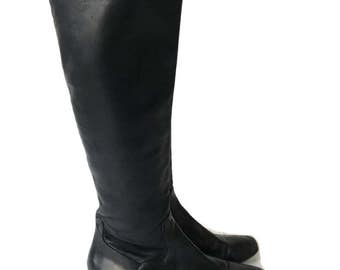 Vintage Black Leather Cole Haan Riding Boots Size 8