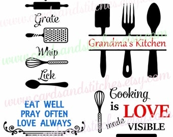 Kitchen Art SVG - Kitchen Decor - Kitchen SVG -  Digital Cutting File - Vector Cut - Cricut Cut - Instant Download - Svg, Dxf, Jpg, Eps, Png
