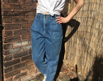 80's high waist jeans w 25 - pleated tapered leg jeans - xs - 1980's fashion