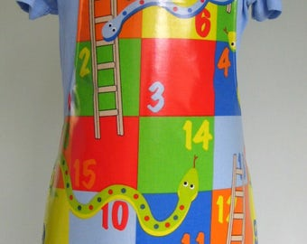 Toddler Apron - Snakes and Ladders Print, Child Pvc Apron, Oilcloth Apron, Waterproof Apron