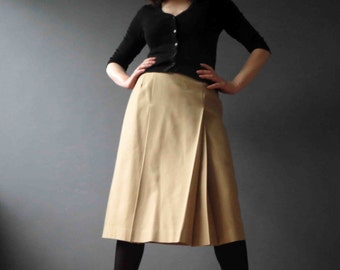 CLEARANCE 70s 80s Tan Wool Midi Skirt Inverted Front Pleat Small