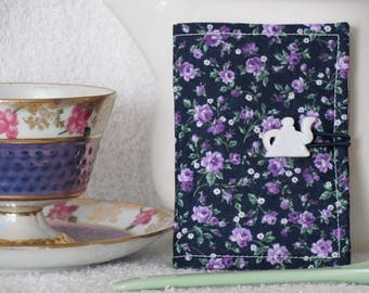 Quilted Day Tea Wallet Lavender Roses on Navy Blue Fabric Matching Green & White Accent Fabric Quilted Tea Leaf Stitch - White Teapot Button