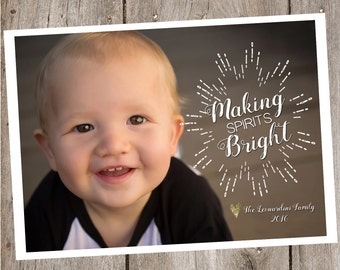 Making Spirits Bright Photo Holiday Card- Digital