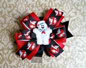 Stacked Boutique Loopy Pinwheel Bow with Marshmallow Man Felt Clip Center - Ghostbusters Comic ComicCon Cosplay Hairbow - Handsewn Bow