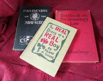 Boys Old Vintage School Books Real Diary of Real Boy Eye View Sunday School Parliamentary Law Small Red Green Book Stack Book Decor