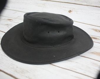 "Vintage 1960s / 1970s Black Minnetonka Genuine Leather ""The Hold Up""  Wide Brim Hippie Hat Size Medium Hipster Western Wear Cowboy Hat"