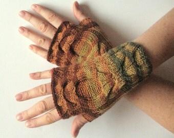 Fingerless Gloves Brown Beige Orange Yellow Green wrist warmers