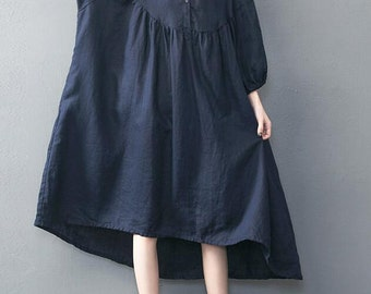 Summer long Dark blue oversized loose long dress red large size dresses
