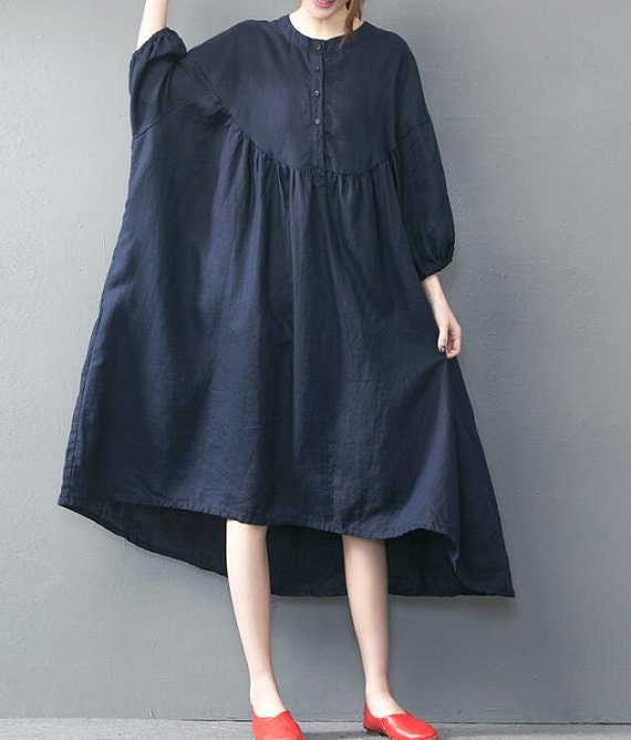 Summer long Dark blue oversized loose long dress red large size dresses