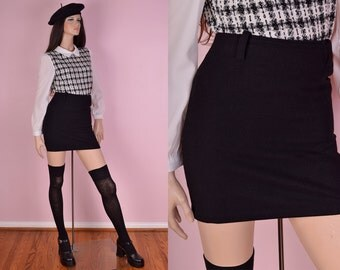 VTG Black Wool Skirt/ 27 Waist/ Minimal