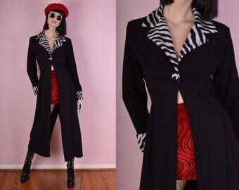 90s Black and Zebra Print Duster/ 1990s/ Jacket/ Coat