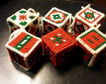 Handmade Ornaments, Block Ornaments, Christmas Ornaments, Box Ornaments, Christmas Tree Decorations, Tree Ornaments, Vintage Box Ornaments