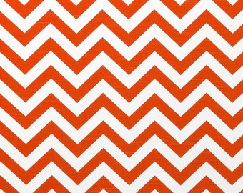 Orange and White Zig Zag Curtains Tangelo - Rod Pocket - 63 72 84 90 96 108 120 Long x 25 or 50 Wide