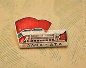 "Vintage Soviet Russian badge,pin. '""Alma-Ata, Almaty""'. (Kazakhstan's largest metropolis)"