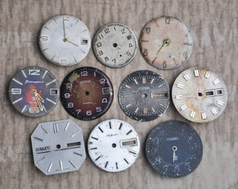 0.9-1.1 inch Set of 10 vintage wrist watch faces.