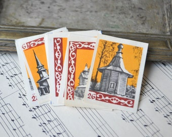 "Vintage Soviet Russian Collectible Matchbox Labels ""Russian ancient wooden architecture"".Set of 18."
