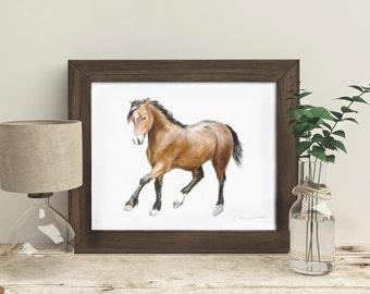 Horse Art Print Painting Baby Watercolor Nursery Boy Room Girl Room Decor Minimalistic