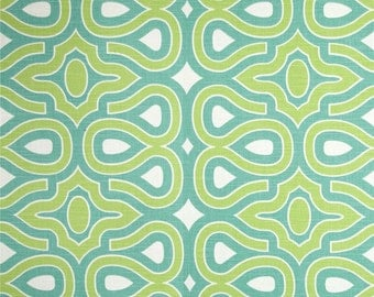 Two 16 x 26  Custom Designer Decorative Lumbar Pillow Covers  - Geometric Trellis -  Turquoise Blue/Citrine Green
