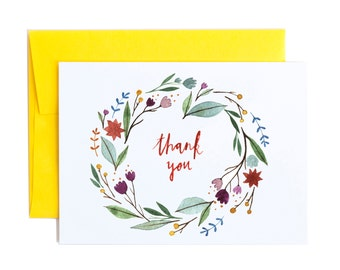 Thank You Card, Greeting Card, Floral Wreath Stationery, Watercolor Art, A6 Notecard