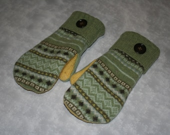 Upcycled Wool Mittens fleece lined from Recycled Wool Sweaters Fairisle Mint Green and Yellow Felted Wool Sweater Mittens-Womens Accessories