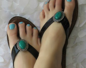 Flip Flop Clips, Jade Green, Flexible Removable Versatile Shoe Clips, Sandal Clips, Scarf Accessory, Boot Strap Accessory
