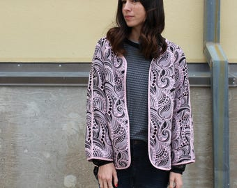 vintage paisley pink black wide cut jacket
