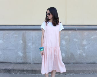 peach cotton drop waist ruffle summer dress