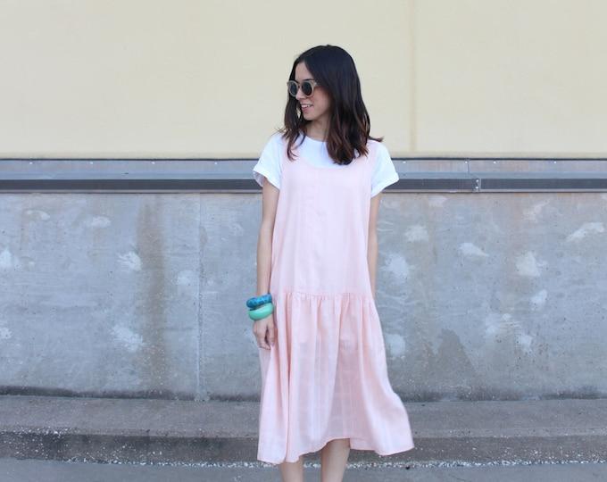 peach cotton drop waist ruffle summer dress