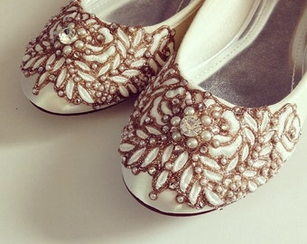 Wedding Shoes - Wisteria Vine Closed Toe Flats - Lace, Crystal and Pearls - Mint/White/Ivory/Custom Colors