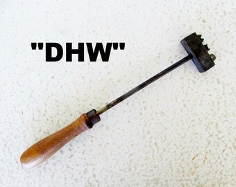 "12"" Branding Iron with Letters DHW wood handle D H W Initials or Company Cattle Livestock Vintage"