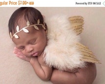 20% OFF SALE Tan Feather Baby Angel Wings with Gold Glitter Trim AND / Or Matching Gold Leaf Headband, foto, infant, Lil Miss Sweet Pea