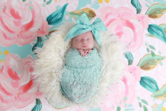 Light aqua stretch wrap, bebe foto, newborn photo, stretch lace, swaddle wrap or layering for photos, by Lil Miss Sweet Pea