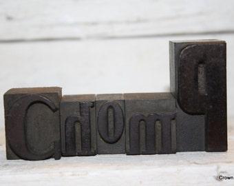 Vintage Letterpress Letters - Vintage Printing Decor - Wooden - Chomp